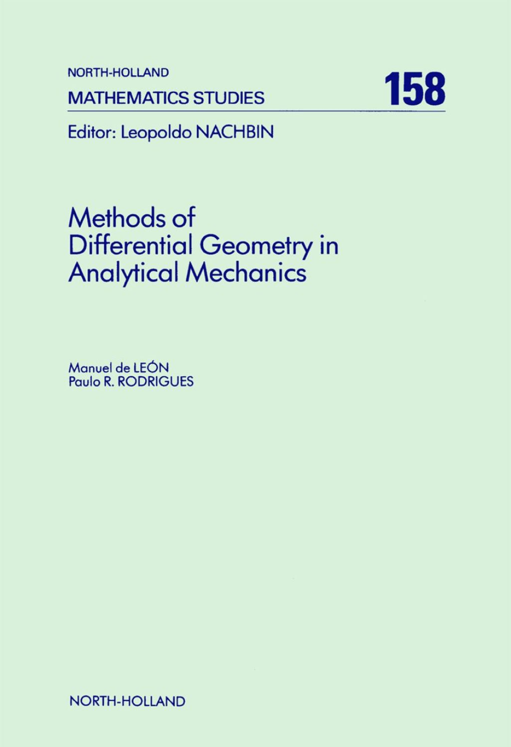 Methods of Differential Geometry in Analytical Mechanics (ebook) eBooks