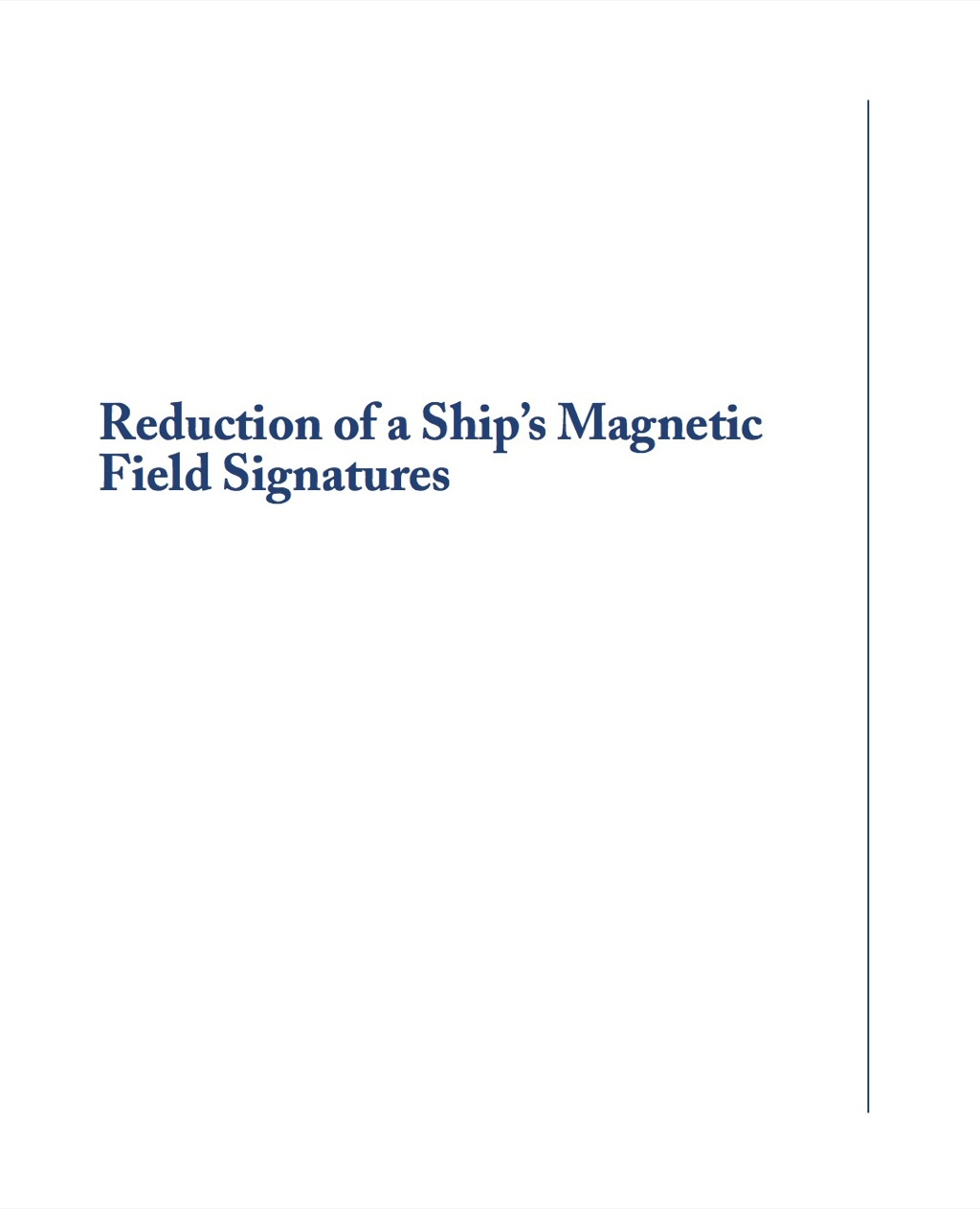 Reduction of a Ship's Magnetic Field Signatures (ebook) eBooks