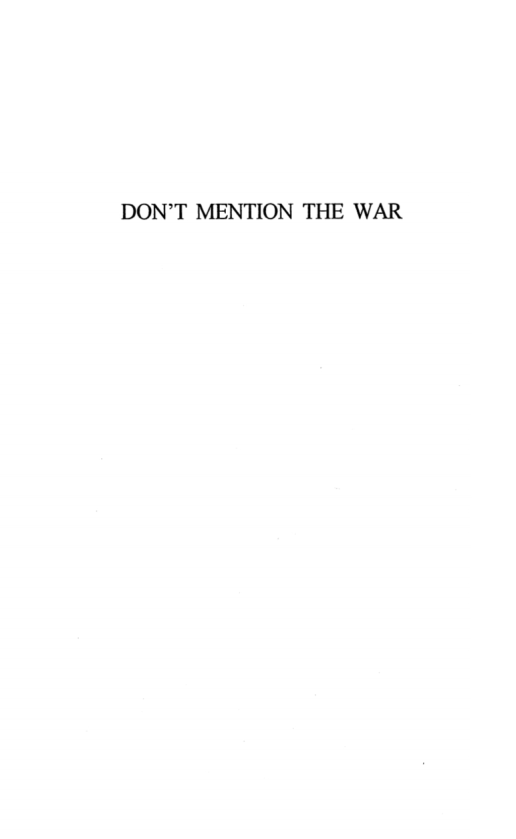 Don't Mention the War (ebook) eBooks