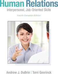 human relations interpersonal job oriented skills 4th canadian edition pdf
