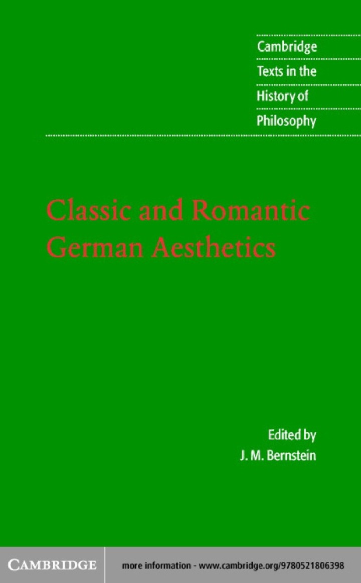 Classic and Romantic German Aesthetics
