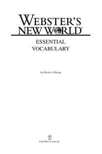 Webster's New World Essential Vocabulary              by             David A Herzog