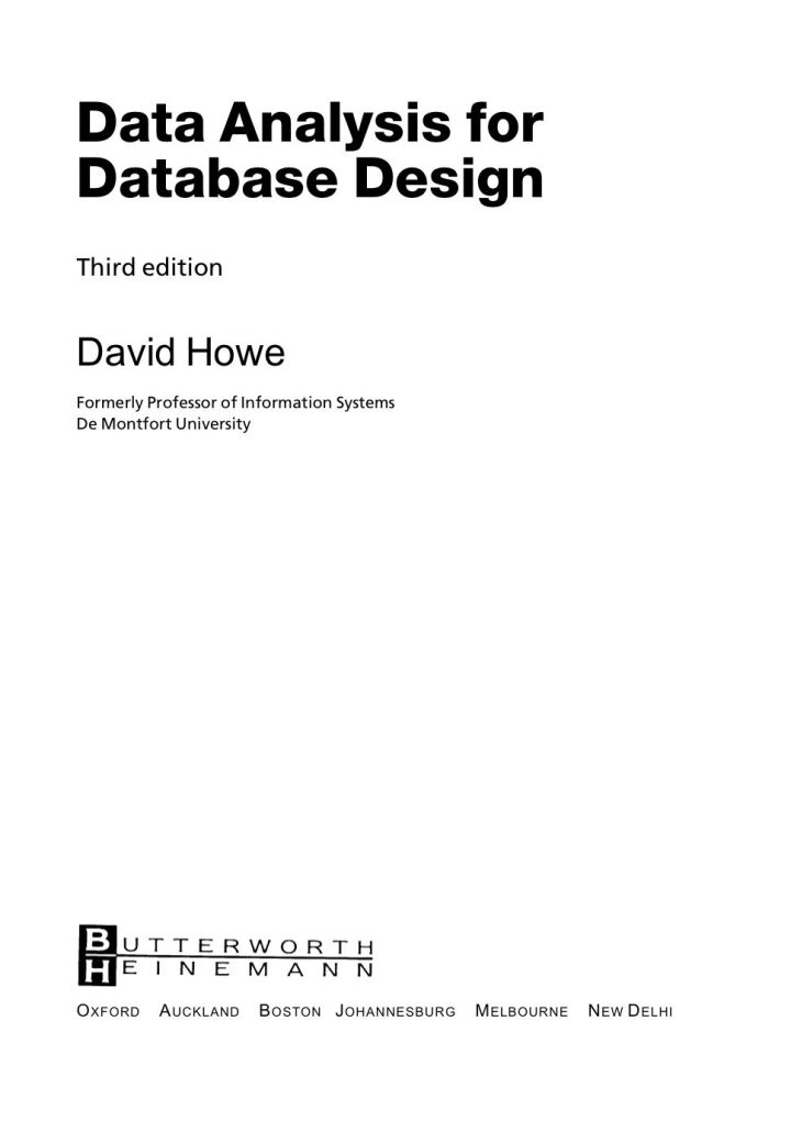 Data Analysis for Database Design