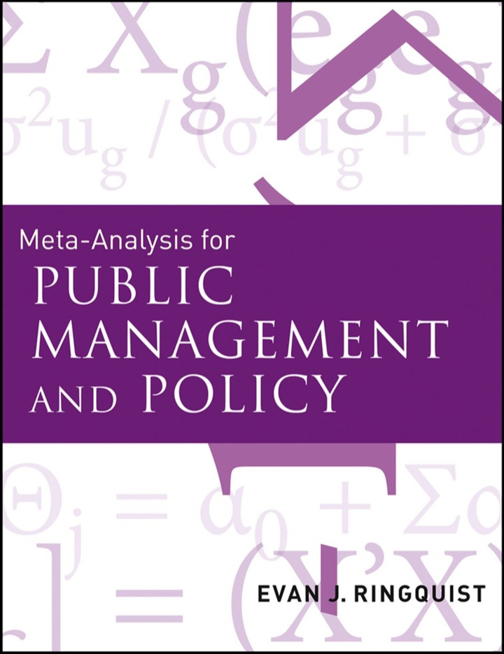 Meta-Analysis for Public Management and Policy