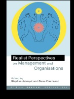 """""""Realist Perspectives on Management and Organisations"""" (9781134546459)"""