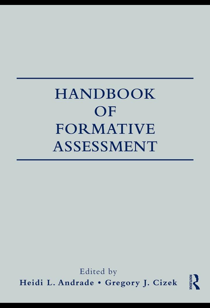 Handbook of Formative Assessment