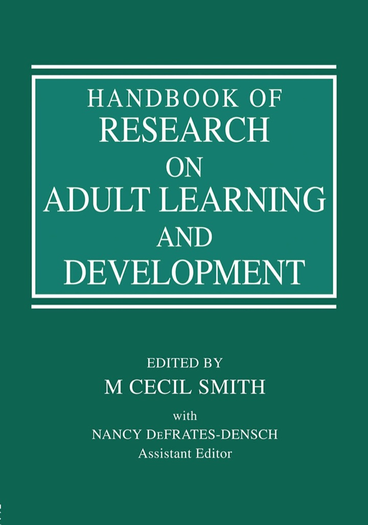 Handbook of Research on Adult Learning and Development