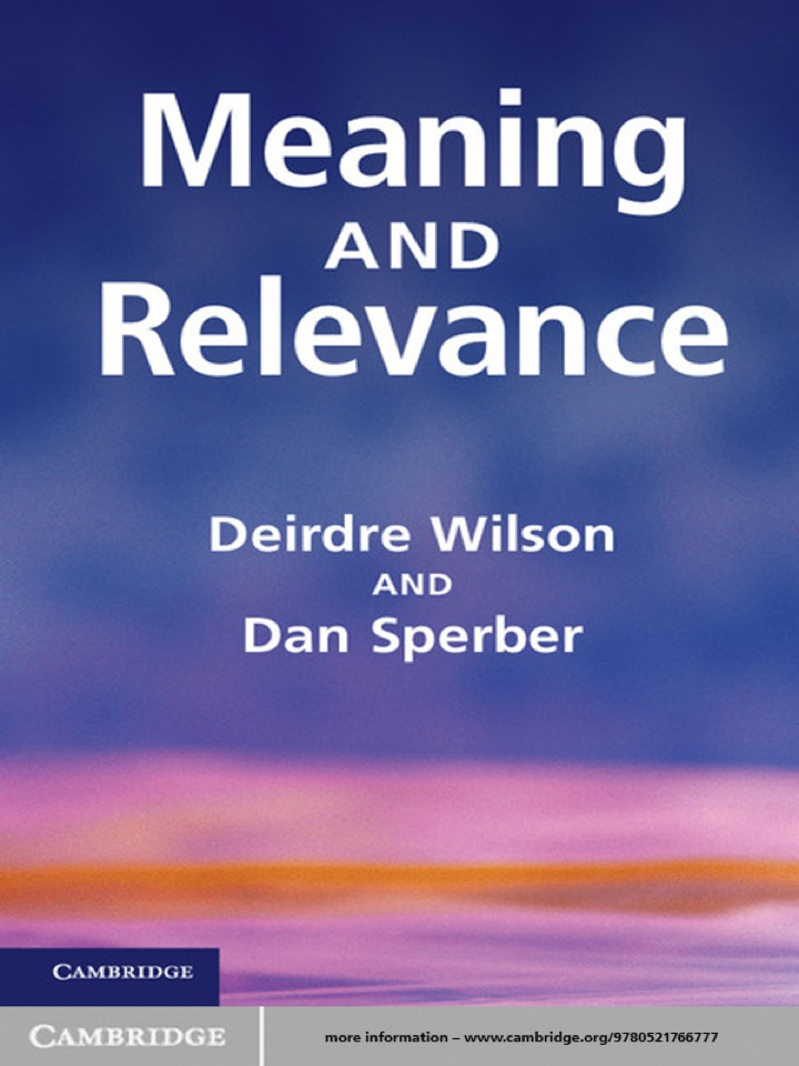 Meaning and Relevance