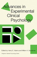 Advances in Experimental Clinical Psychology 9781483186740