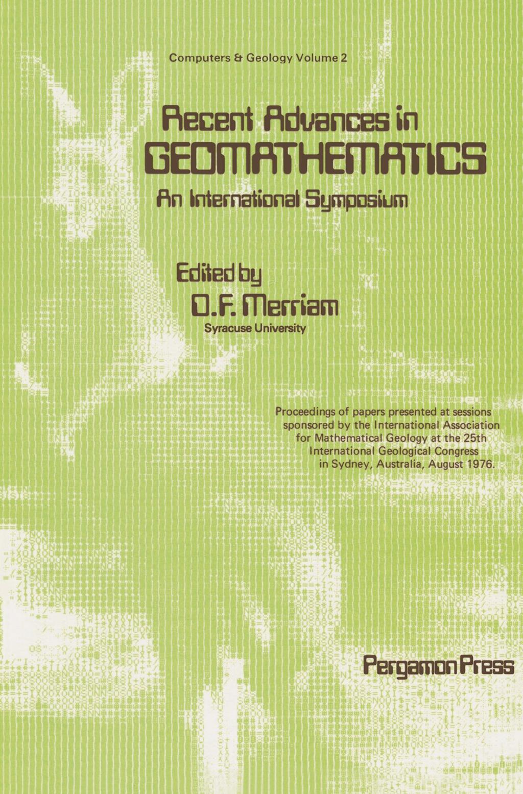 Recent Advances in Geomathematics - An International Symposium (eBook)