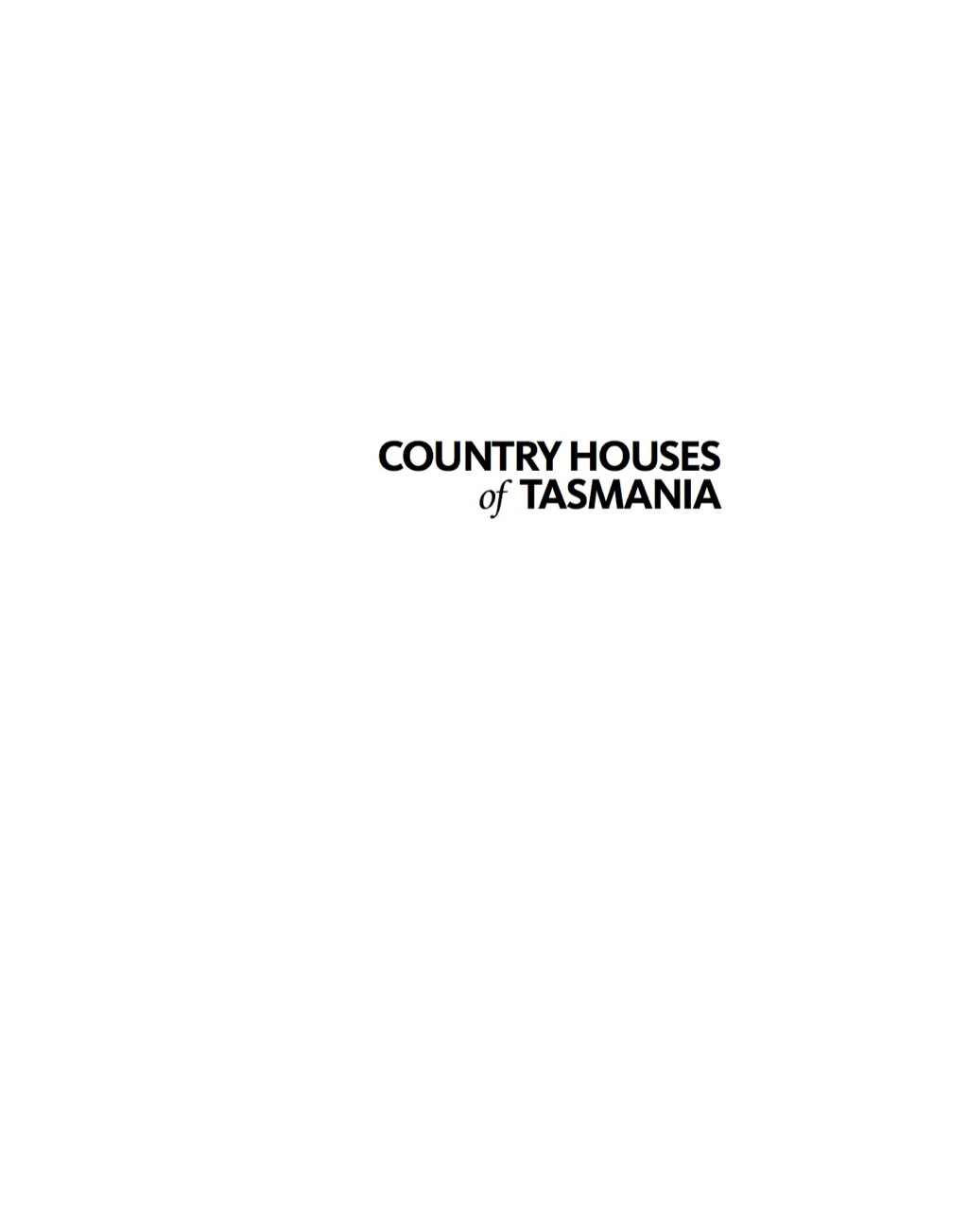 Country Houses of Tasmania (eBook)