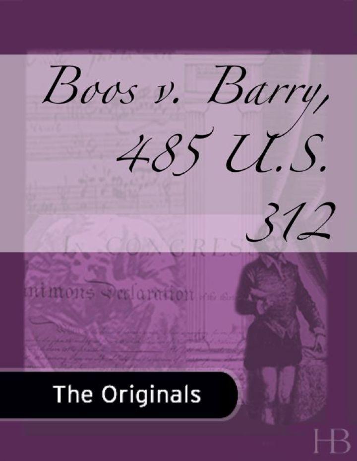 Boos v. Barry, 485 U.S. 312