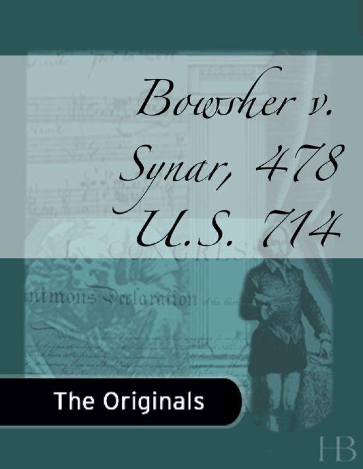 Bowsher v. Synar, 478 U.S. 714