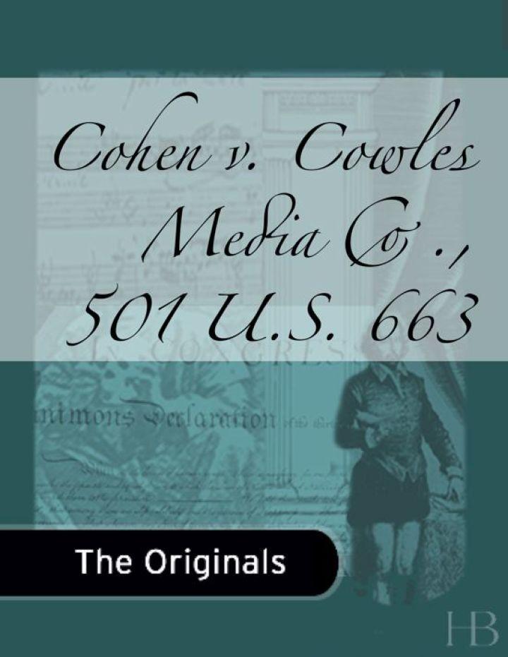 Cohen v. Cowles Media Co., 501 U.S. 663