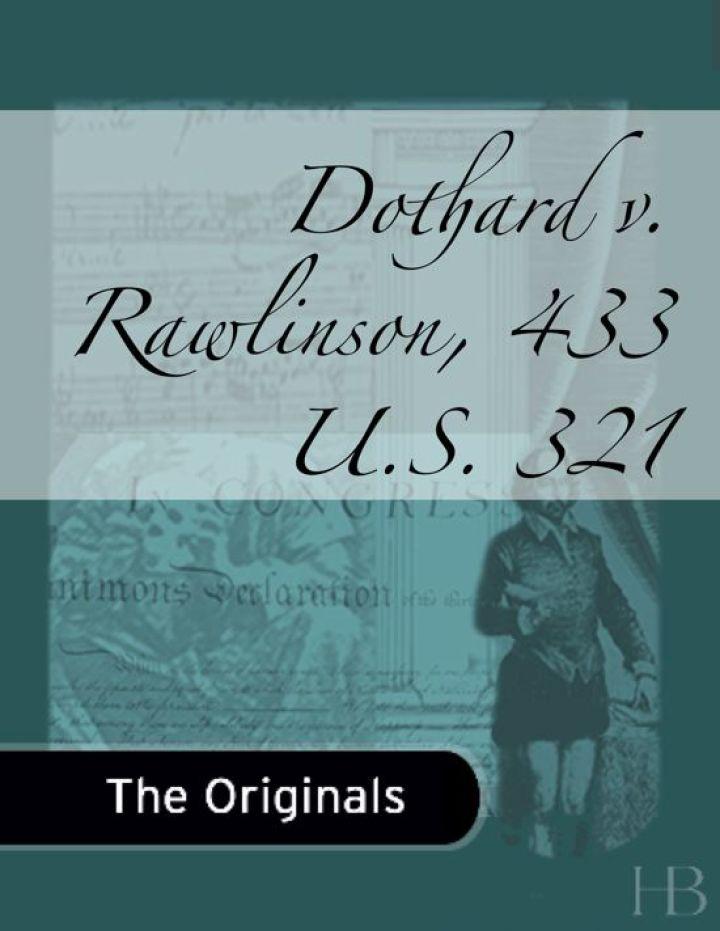Dothard v. Rawlinson, 433 U.S. 321