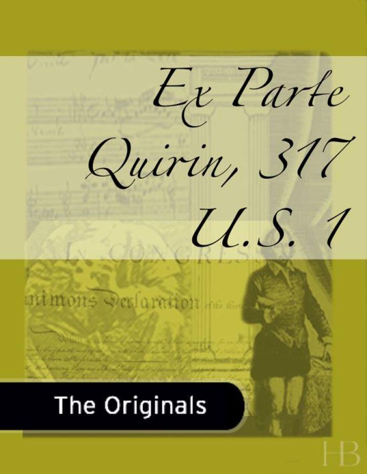 Ex Parte Quirin, 317 U.S. 1