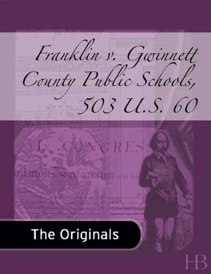 Franklin v. Gwinnett County Public Schools, 503 U.S. 60