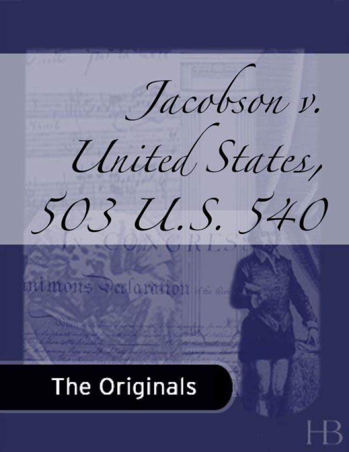 Jacobson v. United States, 503 U.S. 540