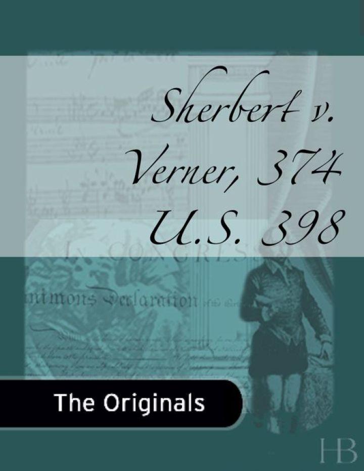 Sherbert v. Verner, 374 U.S. 398
