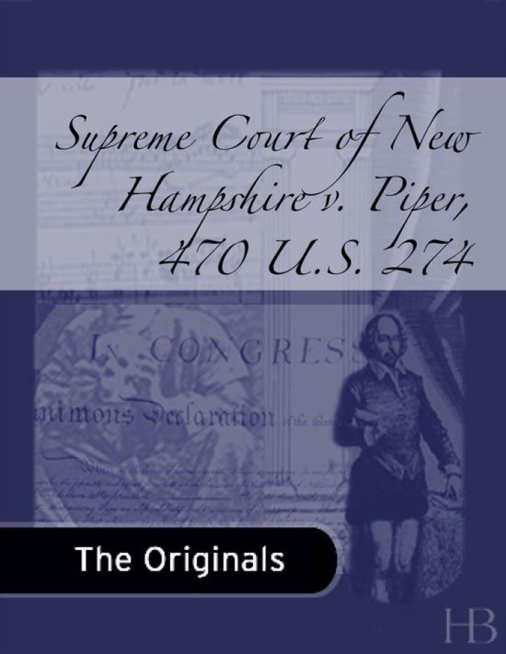 Supreme Court of New Hampshire v. Piper, 470 U.S. 274