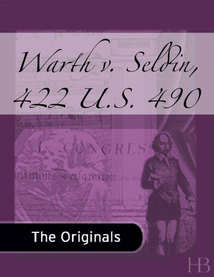 Warth v. Seldin, 422 U.S. 490