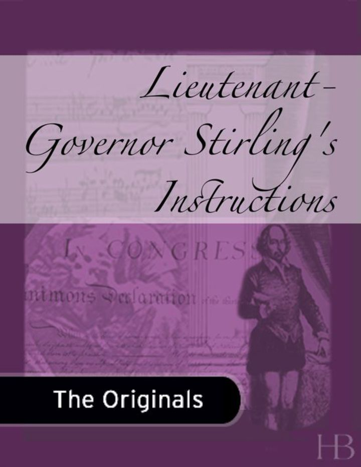 Lieutenant-Governor Stirling's Instructions