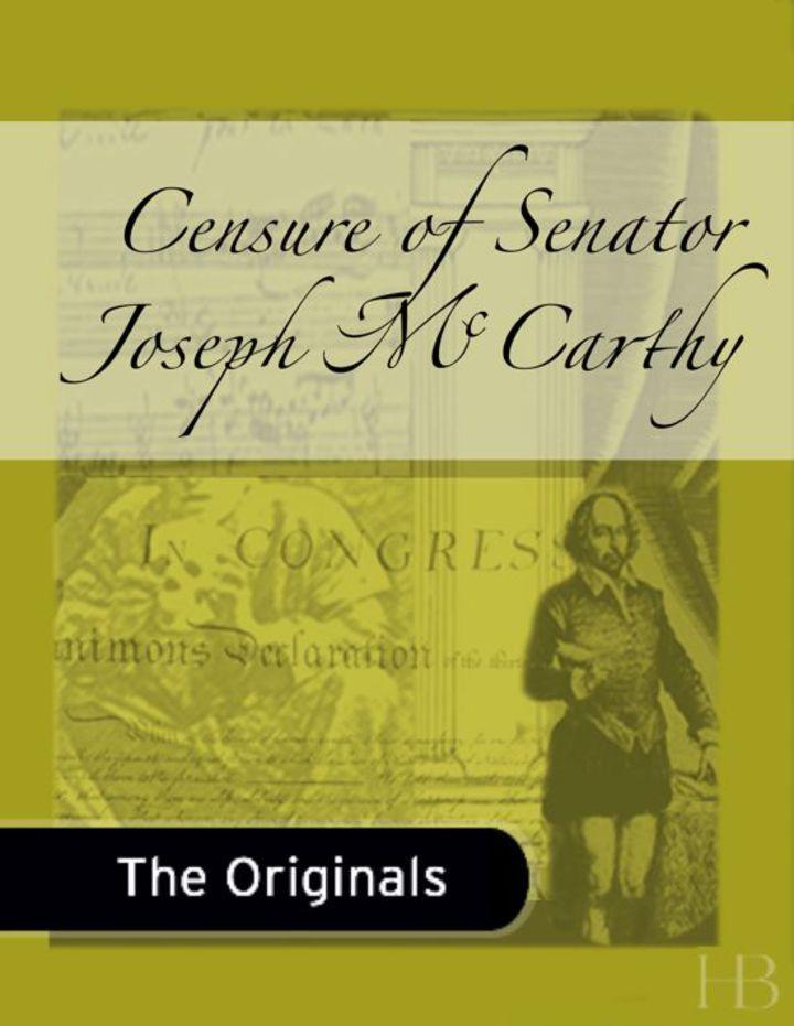 Censure of Senator Joseph McCarthy